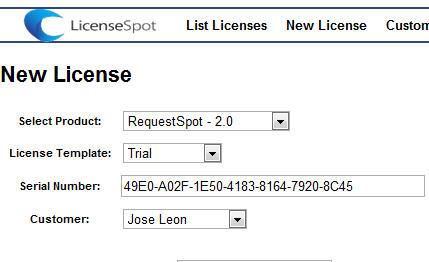 LicenseSpot Serial Number Generation